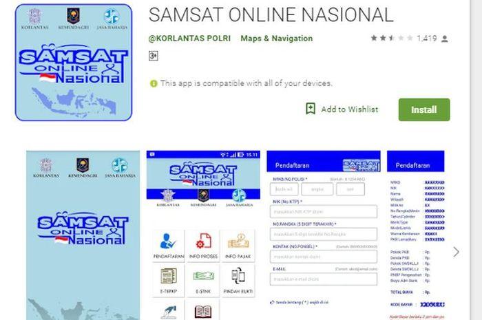 Tampilan aplikasi e-Samsat