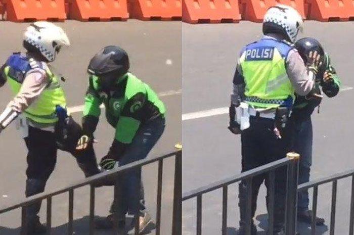Seorang anggota polisi kedapatan menendang dan memukul driver ojek online, ketika tengah mengamankan jalan yang akan dilalui Preseden