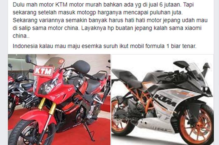Status kocak soal kenapa harga motor KTM bisa tinggi