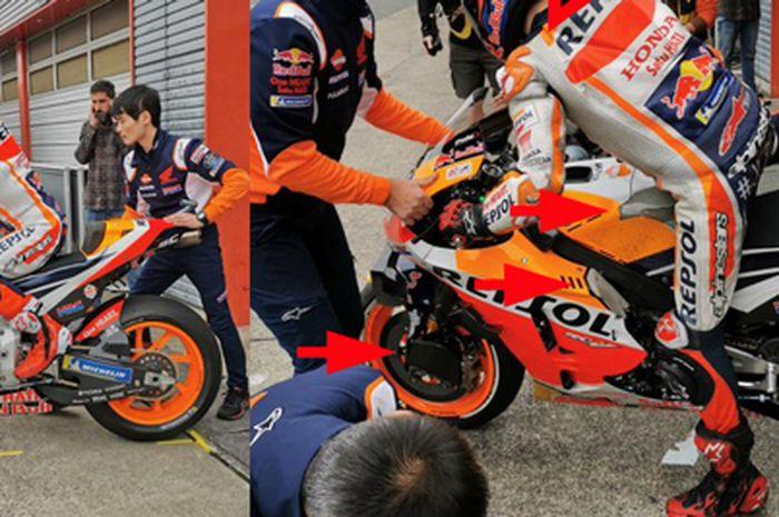 Penampakan pembaruan di motor MotoGP Jorge Lorenzo (panah merah) dibandingkan dengan motor MotoGP Marc Marquez
