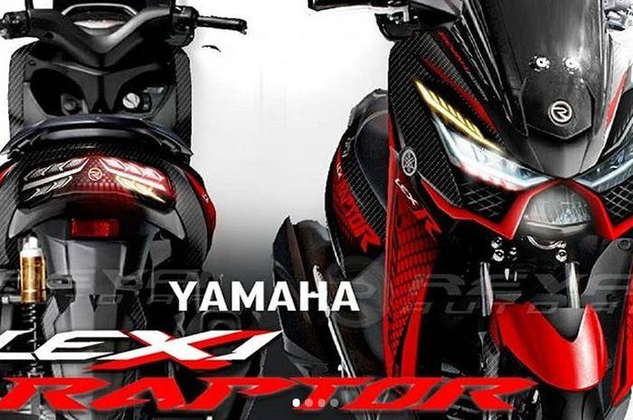 Yamaha Lexi 'Raptor', tampil agresif meskipun hanya mengubah headlamp, stoplamp, dan perpaduan warna karbon dan merah.