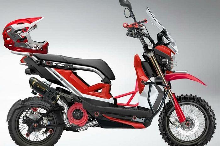 Honda Zoomer-X ala motocross dibalut perpaduan hitam dan merah.