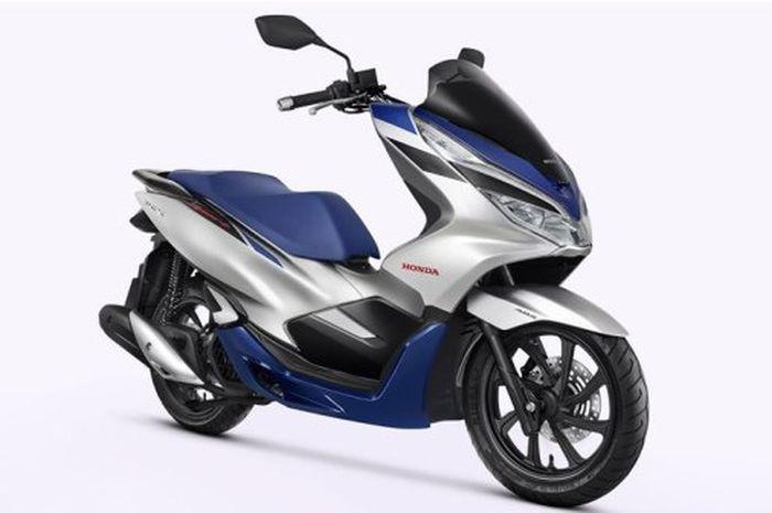Honda PCX 150 Sport versi 2020, hadir dengan kombinasi warna biru dan silver.