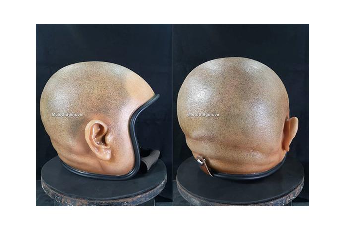 Tampak samping dan belakang, helm Skinhead ini punya desain yang mirip seperti kepala manusia.