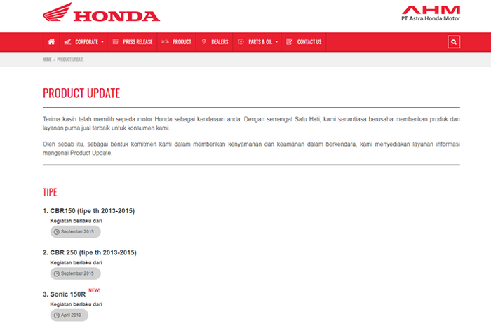 Tampilan menu Product Update di website Astra Honda Motor