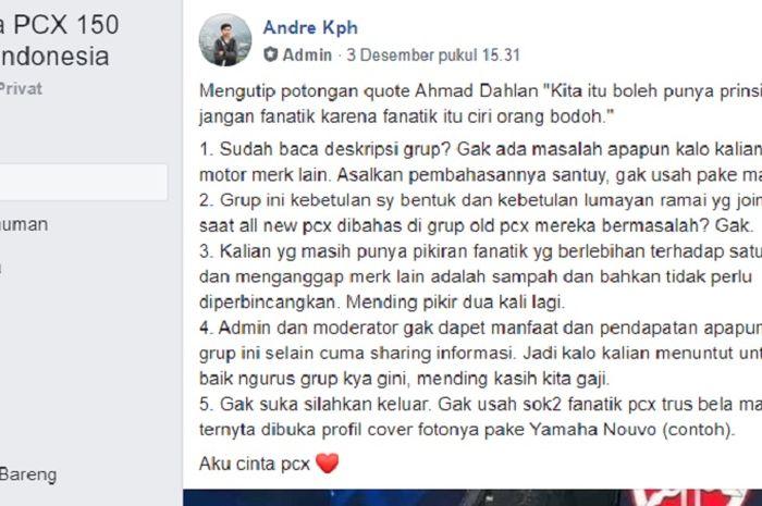 Admin di grup Honda PCX 150 2018 Indonesia kasih peringatan tegas terkait fanatik satu merek dan posting sembarangan.