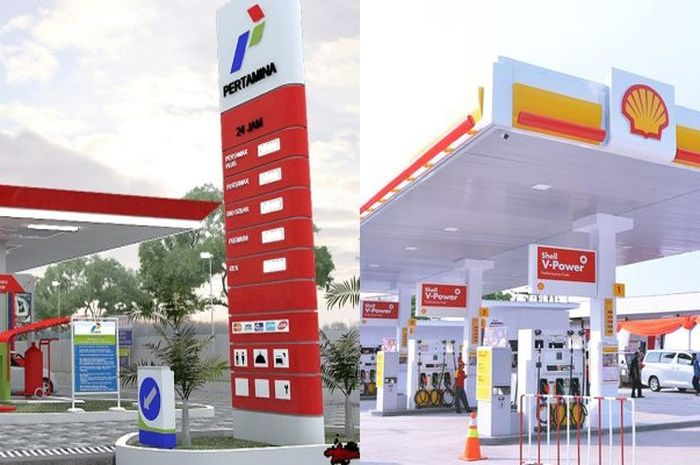 Ilustrasi SPBU Pertamina dan SPBU swasta (Shell), SPBU mana yang harga BBMnya lebih murah?