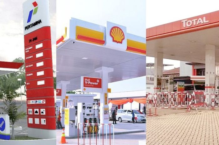 Ilustrasi SPBU Pertamina, Shell dan Total