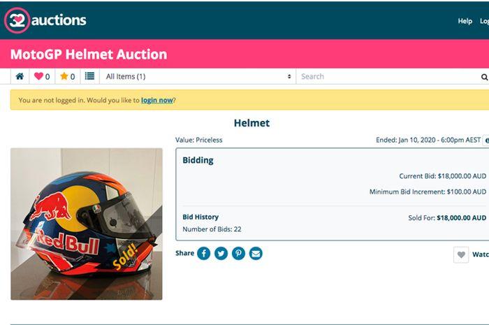 Lelang helm AGV Pista GP R yang dipakai Jack MIller di MotoGP Austria 2018 resmi terjual dengan nilai Rp 170,5. Sekaligus proses lelang helm itu resmi ditutup