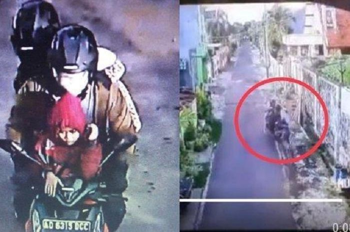 Pinky terseret sejauh 5 meter dan sosok pencuri laptop yang terekam CCTV.
