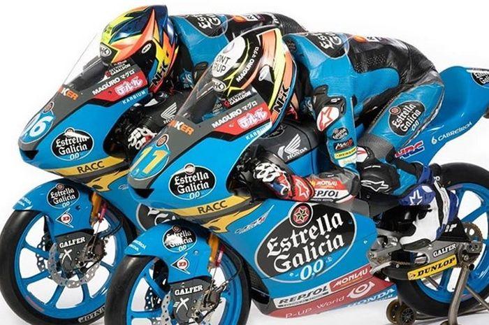 Dua pembalap tim Estrella Galicia 0,0 menggunakan helm NHK GP R-Tech