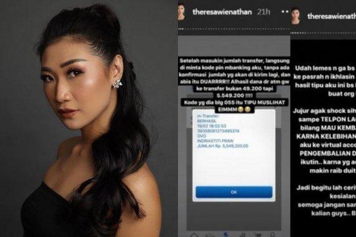 Asisten artis Nia Ramadhani, Theresa Wienathan tertipu oknum ojek online (ojol) saat memesan minuman di salah satu kedai kopi di daerah Jakarta.