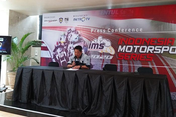 Eddy Horison perwakilan SRM Indonesia yang jadi promotor Indonesia Motorsport Series (IMS) 2020 saat konferensi pers peluncuran IMS di Kedoya, (26/2/2020)