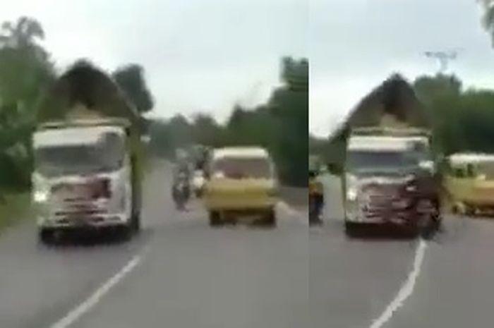 Truck cabai ngeblong Hajar Pemotor Honda BeAT