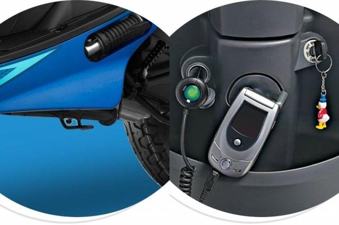 Dua fitur unggulan calon pesaing Honda BeAT, yaitu soket charger dan side stand alarm.