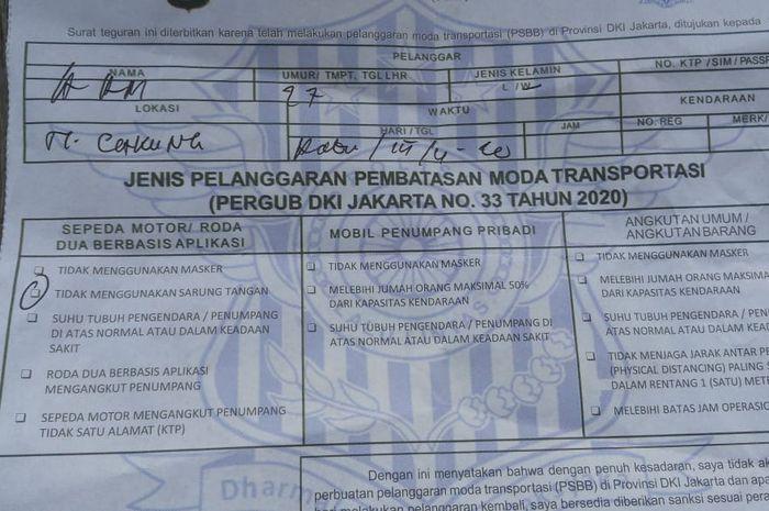 Surat tilang buat pelanggar PSBB beredar luas, padahal begini kenyataannya.