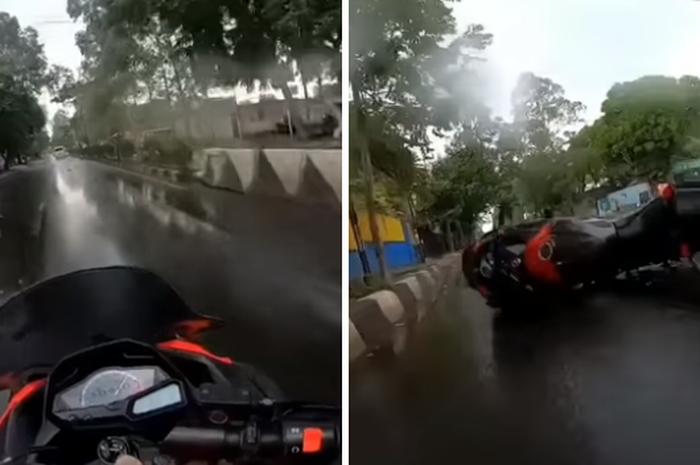 Pemotor Kawasaki Ninja 250 terjatuh usai rem mendadak dihujani hujatan netizen.