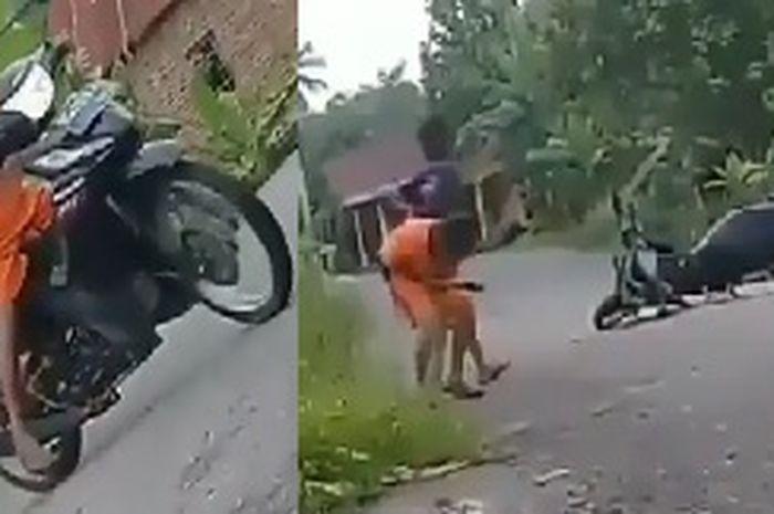 3 Bocah terjatuh dari motornya.