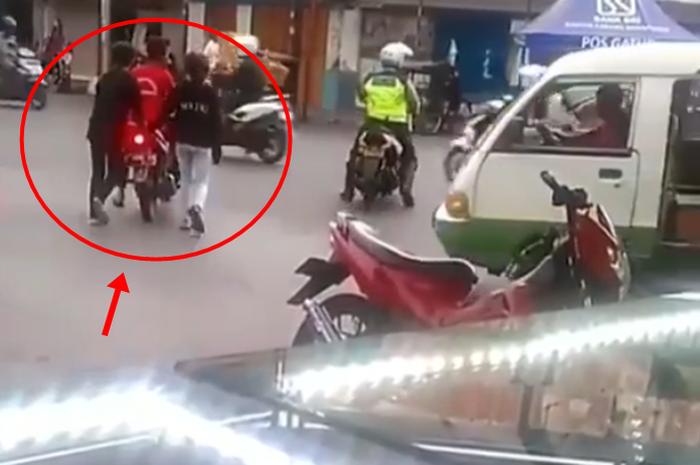 Pemotor prank polisi karena berhasil kabur saat ditilang