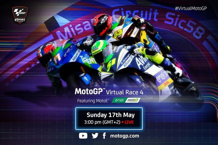 MotoGP Virtual Race VI kembali diadakan akhir pekan ini, Minggu (17/5/2020). Kabar serunya Valentino Rossi kembali ikut balapan virtual MotoGP