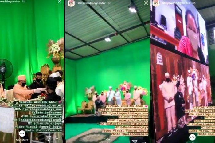 Di tengah pandemi virus corona, ramai pernikahan virtual menggunakan green screen, makanan dan souvenirnya diantar pakai ojek online (ojol).