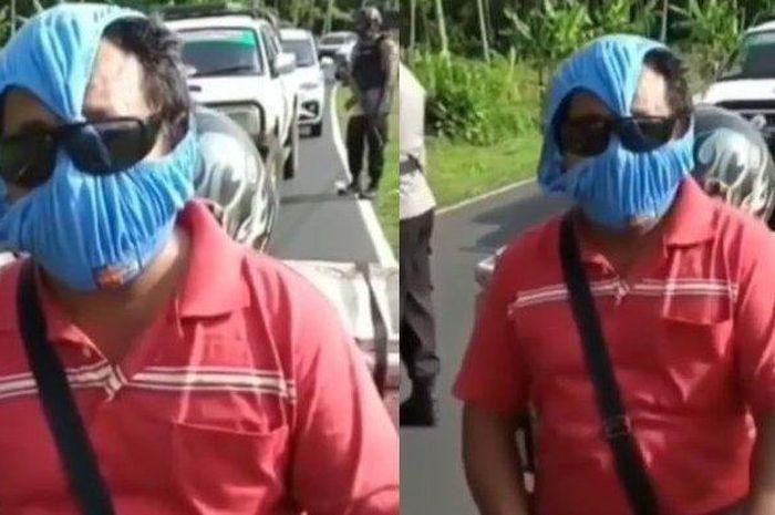 Polisi sampai tertawa ngakak, melihat seorang pemotor menggunakan celana dalam yang dijadikan sebagai pengganti masker.