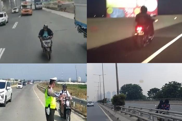 Kolase peristiwa pemotor masuk jalan tol.