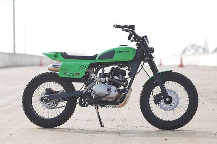 Modifikasi Kawasaki W175TR bergaya flat tracker garapan Knuckle Whackjob