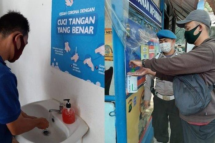Kantor Satpas SIM Polres Kota Tangerang menyediakan dispanser dan wastafel untuk cuci tangan