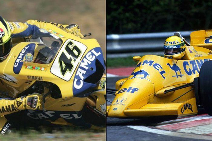 Valentino Rossi dan legenda F1 Ayrton Senna sama-sama pernah pasang logo Unta alias sponsor tembakau Camel. Valentino Rossi di MotoGP musim 2006 dan Ayrton Senna di F1 musim 1987