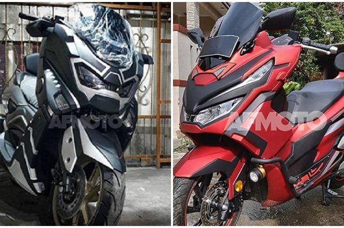 Yamaha NMAX Black Panther dan Honda PCX 150 Super Hero.