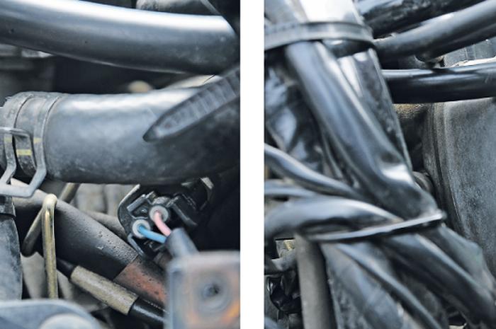 Ilustrasi selang di mesin motor.