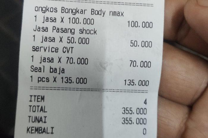 Struk atau bukti pembayaran pasang sokbreker Yamaha NMAX pakai dari XMAX