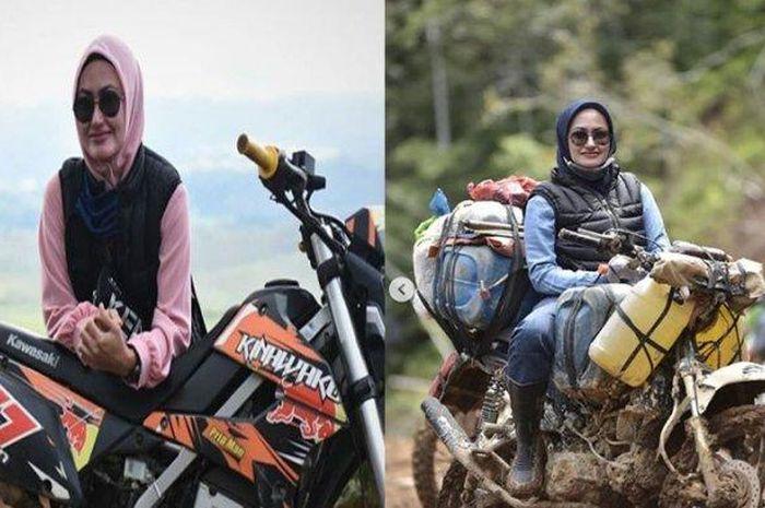 Bupati cantik asal Luwu Utara, Sulawesi Selatan, Indah Putri Indriani doyan trabasan naik motor trail.