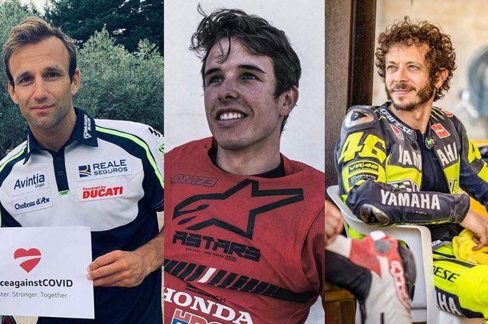 Pembalap MotoGP yang senang dengan rilisnya jadwal baru MotoGP 2020, yaitu Johann Zarco (kiri), Alex Marquez (tengah) dan Valentino Rossi (kanan)