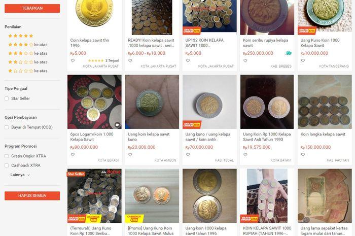 Uang Koin Seribu Rupiah Yang Bergambar Kelapa Sawit dijual di mareket place bisa tembus Rp 250 juta