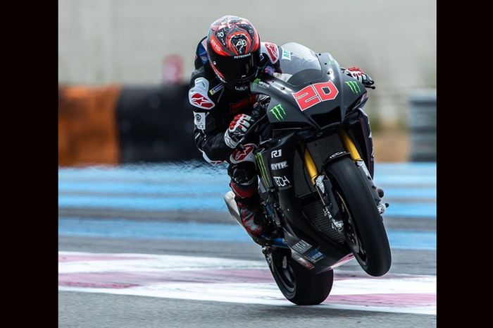 Penampakan motor Fabio Quartararo pas latihan di sirkuit Paul Ricard, Prancis (18/6/2020). Bukan motor MotoGP Yamaha YZR-M1 sih, tapi mirip yaitu Yamaha YZF-R1