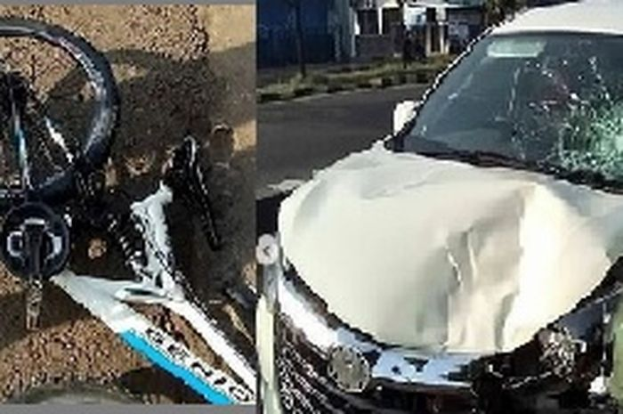 Kecelakaan antara pesepeda dan Toyota Avanza