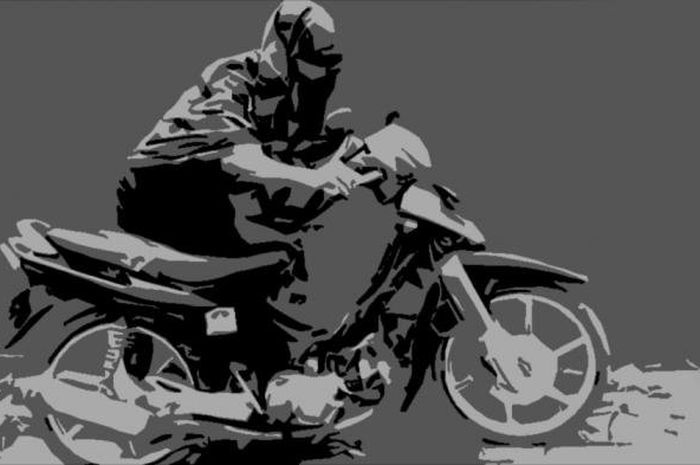 Ilustrasi maling motor, Tuker Guling Ala Maling motor, Ambil Honda Vario Ninggalin Honda Beat