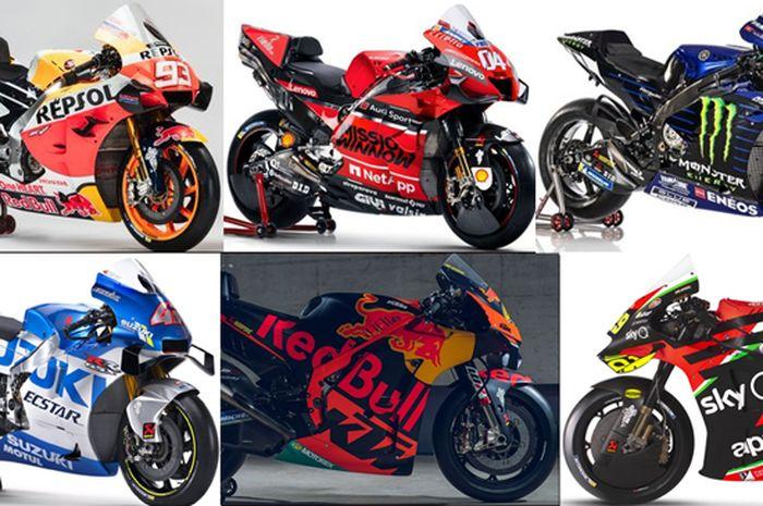 Nama Motor MotoGP 2020 punya keunikan dan ciri khas. Terdiri dari Honda, Yamaha dan Suzuki (Jepang); Ducati dan Aprilia (Italia) dan KTM (Austria).