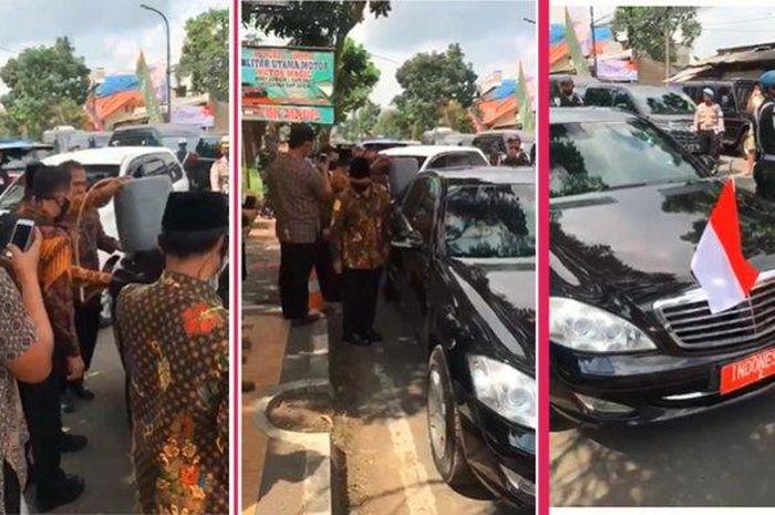 Tangkapan layar video yang memperlihatkan mobil Wakil Presiden diisi bensin pakai jeriken dalam kunjungan kerja di Sukabumi pada Rabu (8/7/2020)