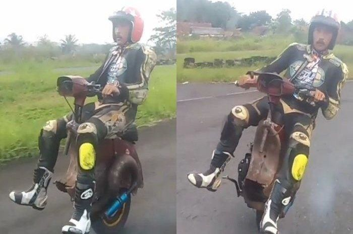 Heboh pria naik vespa roda satu langsung bikin netizen melongo, ternyata proses buatnya telan biaya segini.