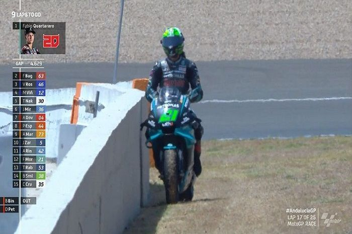 Franco Morbidelli menepi setelah Yamaha M1 mogok.