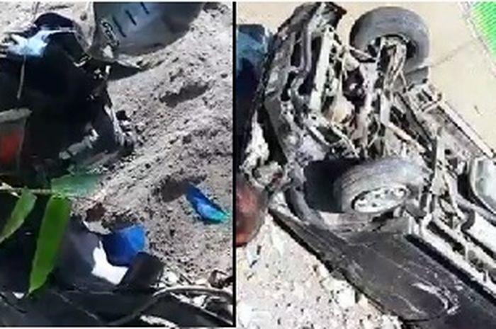 Ngilu, video kecelakaan Honda BeAT VS Toyota Kijang, motor terkelupas habis 1 nyawa melayang.