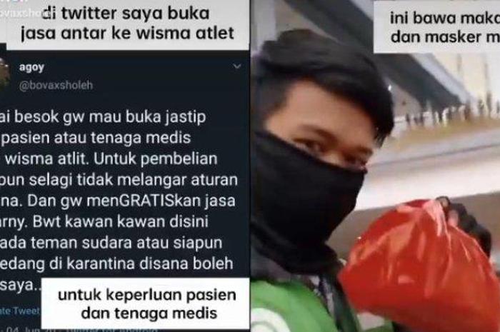 Mulia Banget, Driver Ojol Ini Bantu Pasien Covid-19 di Wisma Atlet dengan Buka Jastip Gratis