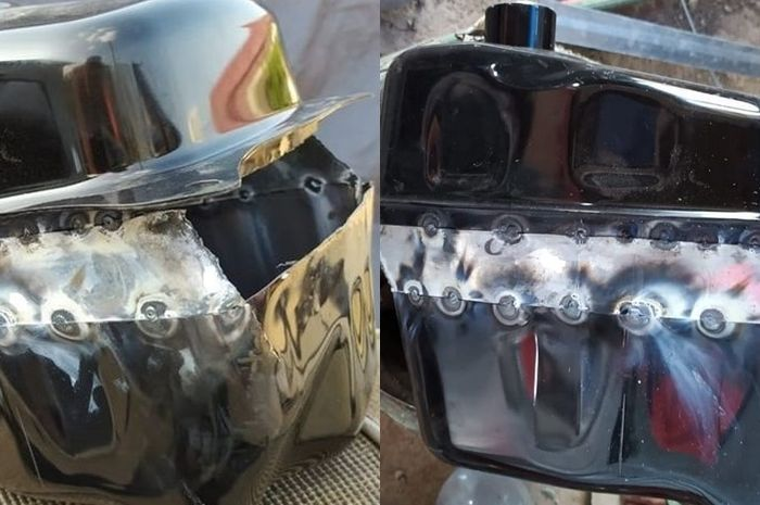 Tangki bensin Yamaha NMAX jadi jarang mampir pom bensin berkat disambung pelat galvanis agar volumenya bertambah banyak.