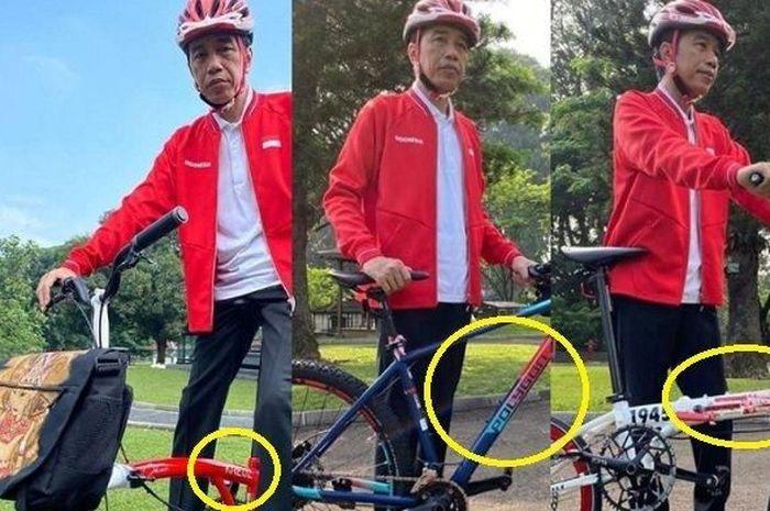Presiden Jokowi pose di atas sepeda lipat custom warna merah putih, harganya bisa buat beli Honda BeAT.