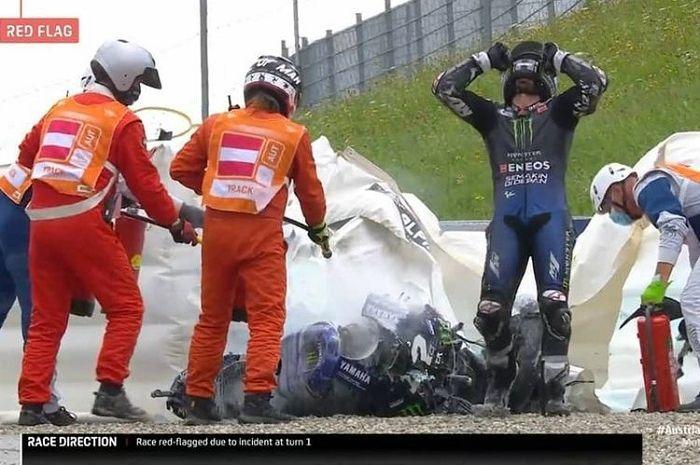 Akhirnya Yamaha buka suara soal Maverick Vinales pakai rem standar di MotoGP Styria 2020 yang berujung celaka.