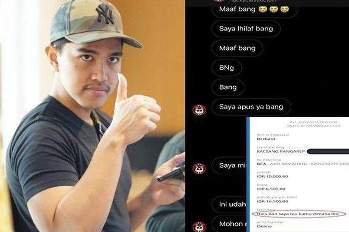 Kaesang putra Presiden Jokowi nyaris ketipu disuruh transfer karena menang lelang malah sang penipu sekarang yang panik akibat dijaili Kaesang