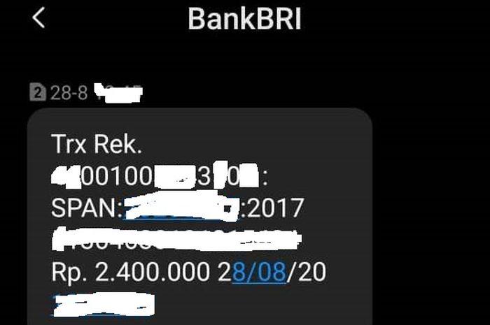 SMS dari Bank BRI pembertahuan dapat transferan bantuan dari pemerintah